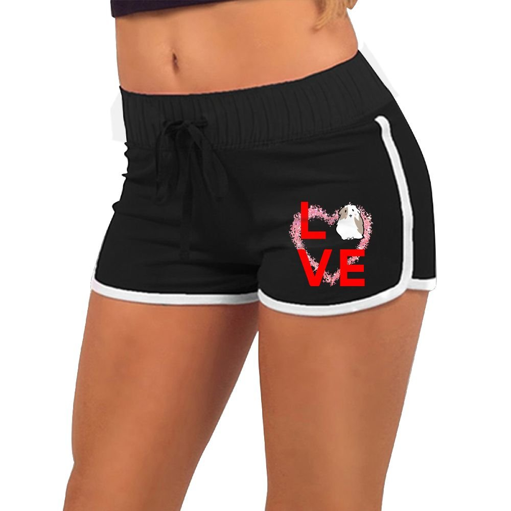 Baujqnhot Love Guinea Pig Glitter Heart Girls Comfort Waist Workout Running Shorts Pants Yoga Shorts