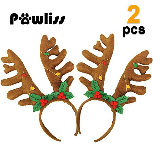- Pawliss Reindeer Antler Plush Headband Cute Hair Accessory for Christmas Holiday Party 2 Pack