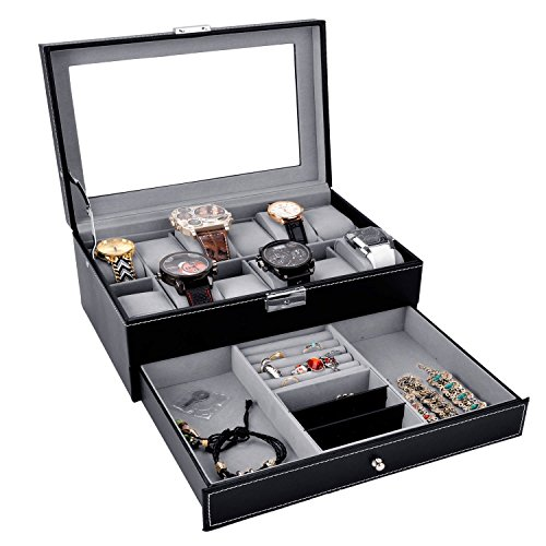 Watch Box Black Leather Jewelry Box 12 Slot Watch Organizer Lockable Jewelry Case w/ Glass Top Drawer