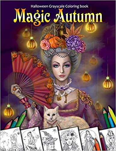 Magic Autumn Halloween Grayscale coloring book Coloring Book for Adults