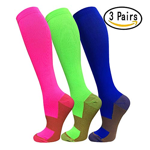 Copper Compression Socks For Men & Women(3 Pairs)- Best For Running,Athletic,Medical,Pregnancy and Travel -15-20mmHg (L/XL, Multicoloured)