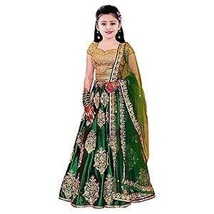 Rayasa Girl's Banglory Satin Semi-stitched...