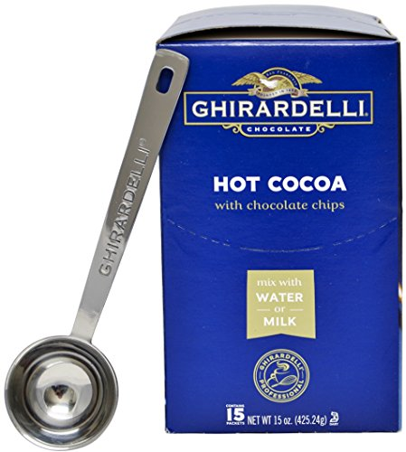 Ghirardelli - Premium Hot Cocoa with Chocolate Chips 15 count 1 ounce packets - with Exclusive 1.5 tbsp Measuring Spoon