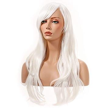 YOPO 28\' Wigs White Long Big Wavy Hair Women