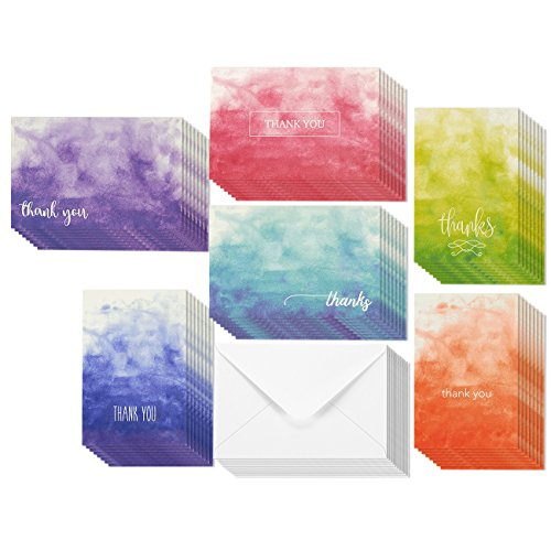 Watercolor Ombre Thank You Greeting Cards   6 Assorted Color Ombre Watercolor Designed Greetings  Envelopes Included   48 Pack
