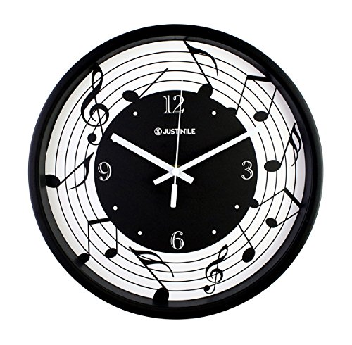 (JustNile 12-Inch Silent Wall Quartz Clock with Modern & Creative Black Frame; Extreme Time Precision; Smooth Hand Non-Ticking Movement – Staff Notation Design)