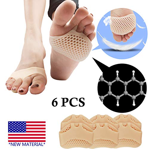 Metatarsal Pads, Ball of Foot Cushion (6 PCS) *New Material* Forefoot Pads, Breathable & Soft Gel, Best for Diabetic Feet, Callus, Blisters, Forefoot Pain. (Nude)