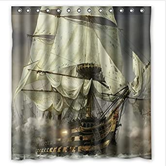 Amazon Cool Pirate Ship Waterproof Bathroom Shower Curtain Polyester Fabric 66wx72h Clothing