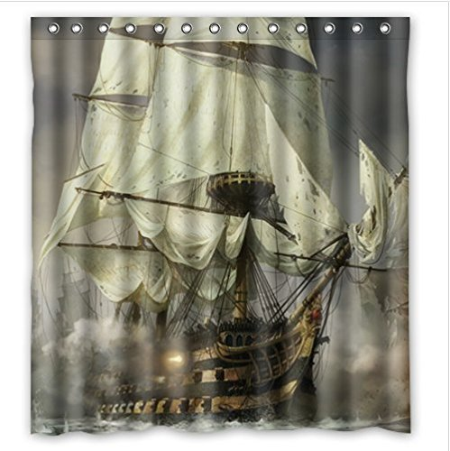 Cool Pirate Ship Waterproof Bathroom Shower Curtain Polyester Fabric 66 W X7 Ebay