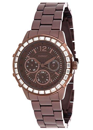 - Everest Women's ES10080 Multi Function Watch - Coffee Tone - Swarovski Baguette Crystallized - Coffee