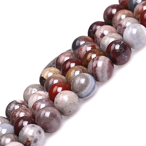 Fancy Jasper Necklace - 8mm Round Natural Semi Precious Gemstone Dark Red Fancy Fantasy Jasper Beads for Jewelry Making Strand 15