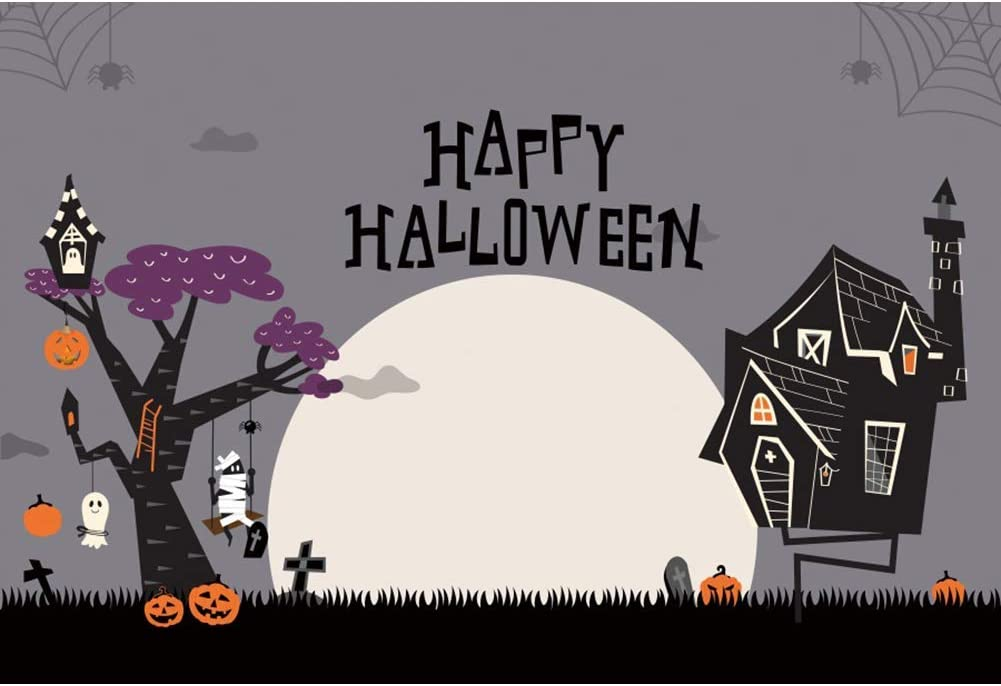 Happy Halloween Backdrop 8x6.5ft All Hallows Day Photography Background Cartoon Bright Full Moon Grimace Pumpkin Zombie Terror Tree Hanging Ghost Haunted House Cemetery Cross Portrait Shoot