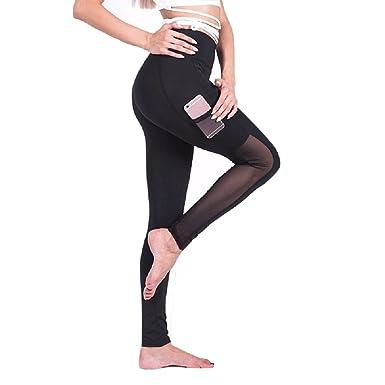 Oudan Femme Pantalons de Yoga Collant Sexy Leggings Taille Haute Transparent  avec Poche  Amazon.fr  Vêtements et accessoires f22bcaec59e