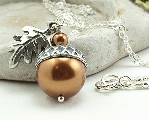 Acorn Necklace with Oak Leaf Copper Colored Simulated Pearls from Swarovski, Sterling Silver Chain 18