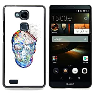 - Dust Watercolor White Skull Skeleton - - Snap-On Rugged Hard Cover Case Funny HouseFOR HUAWEI Ascend Mate 7