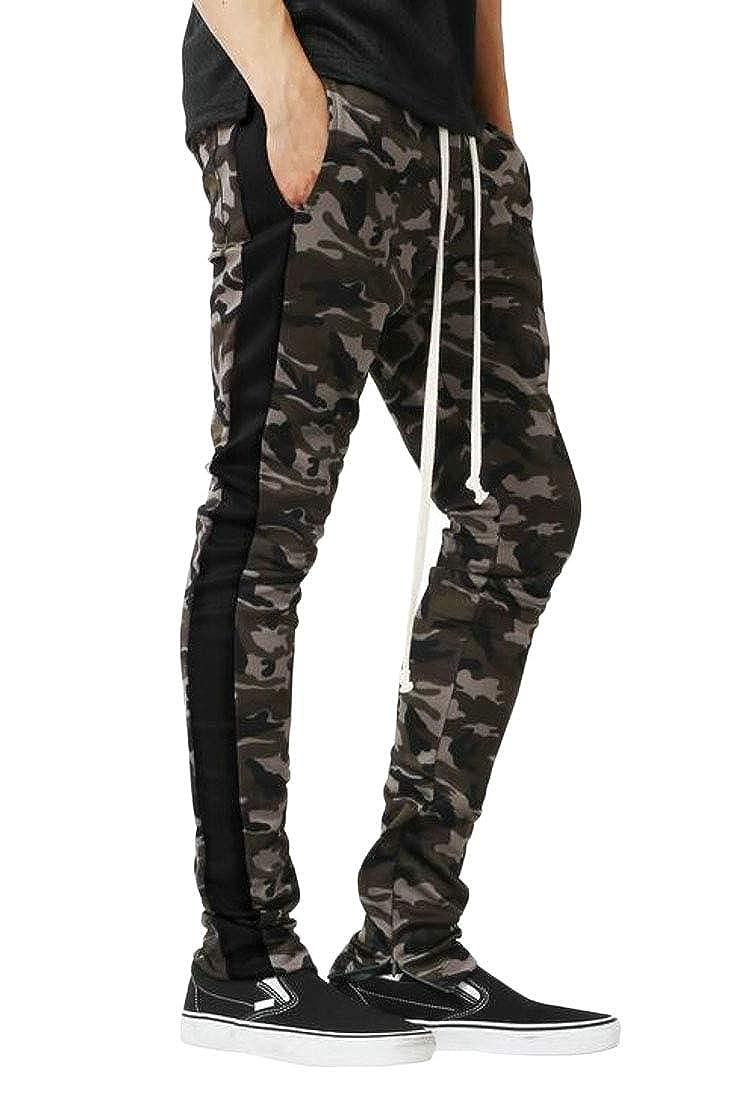 ARTFFEL Men Casual Camouflage Print Drawstring Zip-Up Workout Long Pants
