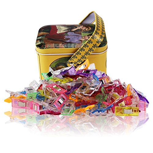 MumCraft Multipurpose Sewing Clips with Tin Box Package, Assorted Colors, Pack of 100 ()