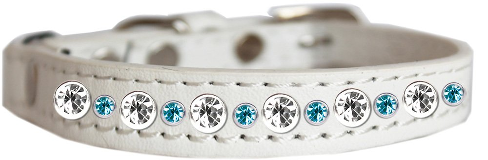 14 Mirage Pet Products Posh Jeweled Cat Collar White with Aqua Size 14
