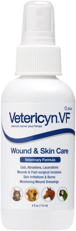 Vetericyn Plus VF Wound & Infection Spray for Dogs Cats Horses & Pets - Veterinary Formula Skin Care - 4 oz