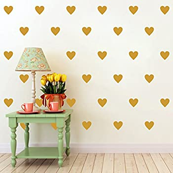 Melissalove 84pcs DIY Mini Heart Wall Stickers for Kids Room Baby Wall Decals Nursery Girls Boys Bedroom Wall Art Decor Mural A307 Gold