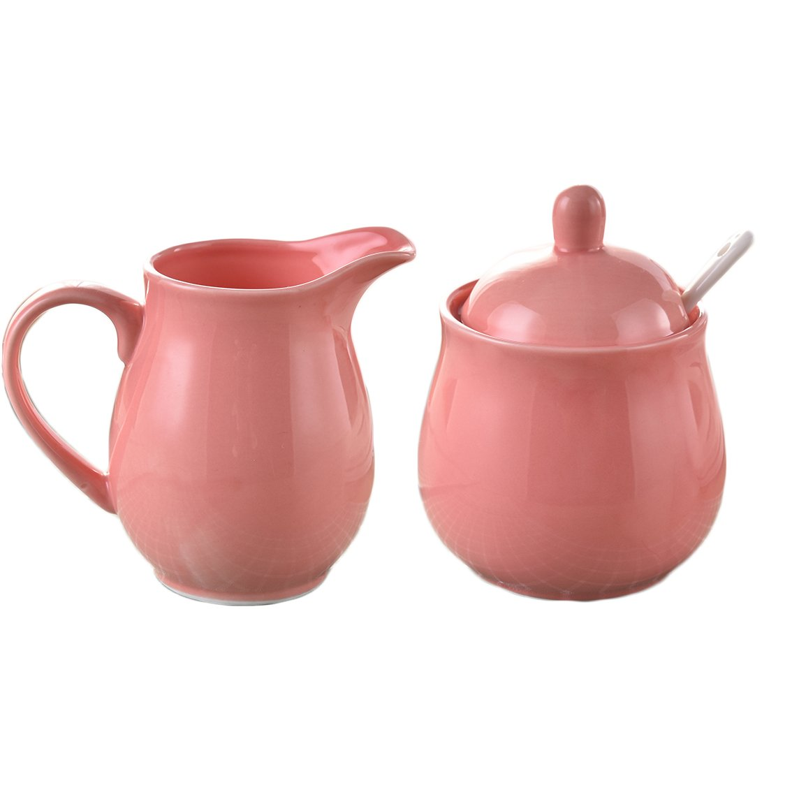 CHOOLD Colorful Ceramic Sugar and Creamer Set with Spoon, Creamer Serving Set for Coffee and Tea Best Gift(12oz)