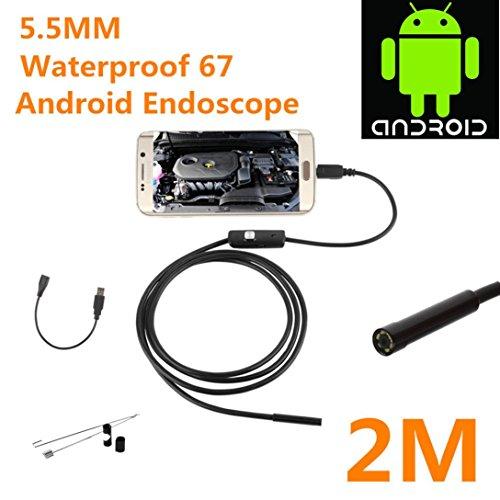 2M Andorid Phone Borescope USB Camera, Lookatool 5.5mm Endoscope Waterproof Borescope Inspection Camera 6 LED For Andorid Phone, (Uvc Light Sweep)