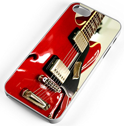 iPhone Case Fits Apple iPhone SE 5s 5 Red Electric Guitar Rock And Roll Clear Plastic by TYD Designs
