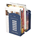 Heavy Duty Bookends Vintage Telephone Booth Kiosk Style Art Bookend Metal Magazines CD Holder Nonskid Sturdy File Books Rack Sorter Desktop Organizer Decor for Home Office School Library Gift, 1 Pair