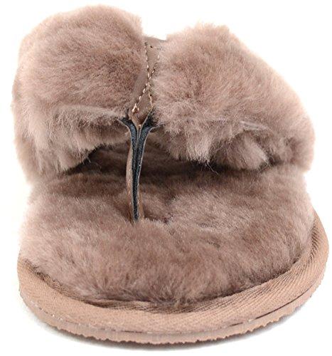 Lambland - Zapatillas de estar por casa en piel ovina para mujer, talla 35-44 Visón