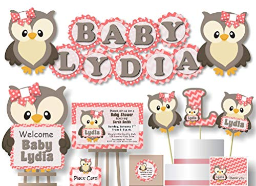 Personalized Coral Pink Owl Baby Shower Decoraitons for Girl - Banner with Optional Cake Topper, Centerpiece, Welcome Sign, Favor Tags or Stickers, Thank You Cards - Handmade in USA - BCPCustom ()