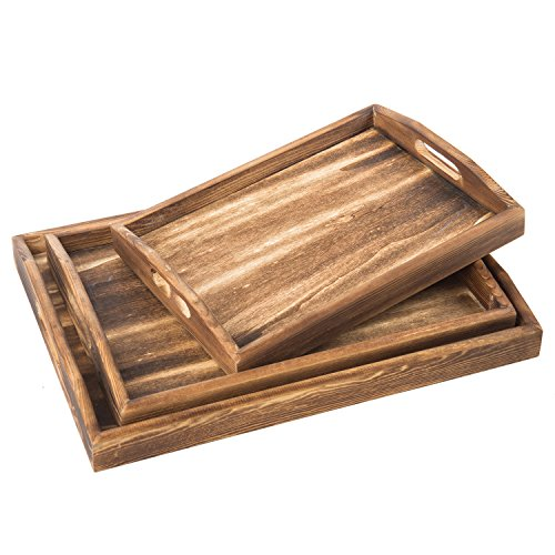 Coffee Breakfast Set - Set of 3 Torched Wood Rectangular Nesting Breakfast, Coffee Table / Butler Serving Trays, Dark Brown
