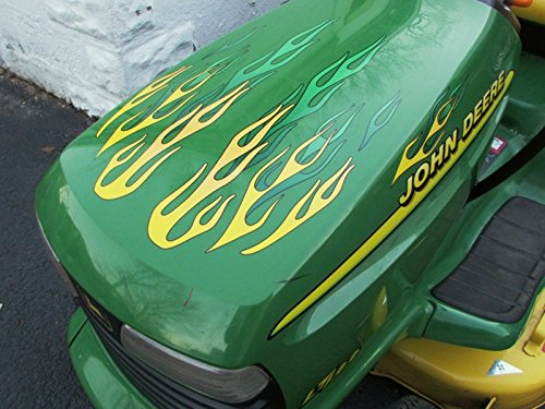 Tractor Decal Set - Flame Decals - for John Deere riding lawn mower tractor - 10pc. set