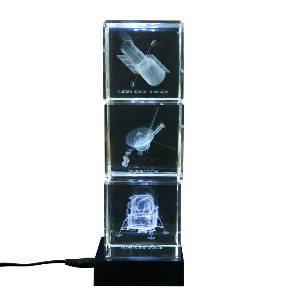 NASA Spacecraft Voyager Probe, Apollo Moon Lander and Hubble Space Telescope Crystal Glass Cube Decoration Set of Three with LED Lighted Base