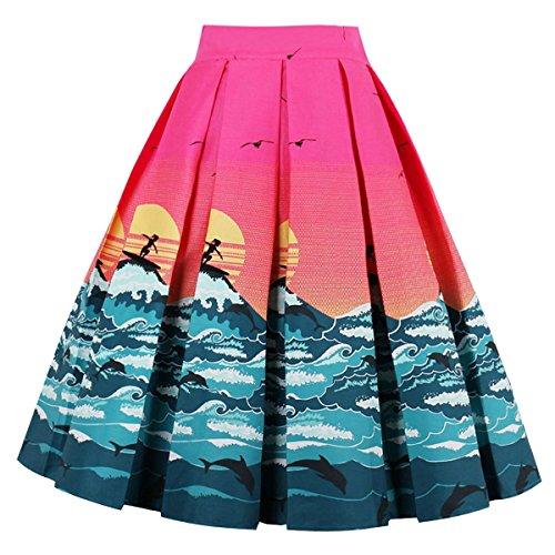 Sunrise Skirt (Girstunm Women's Pleated Vintage Skirt Floral Print A-line Midi Skirts with Pockets Sun-Rise XL)