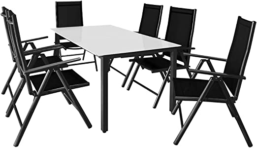 Casaria Salon de Jardin Aluminium Anthracite »Bern« 1 Table ...