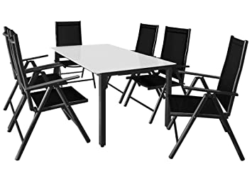 Casaria Salon de Jardin Aluminium Anthracite »Bern« 1 Table 6 ...