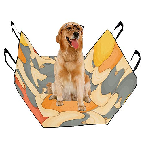 (JTMOVING Fashion Oxford Pet Car Seat Cashew Snacks Hand-Painted Waterproof Nonslip Canine Pet Dog Bed Hammock Convertible for Cars Trucks SUV)
