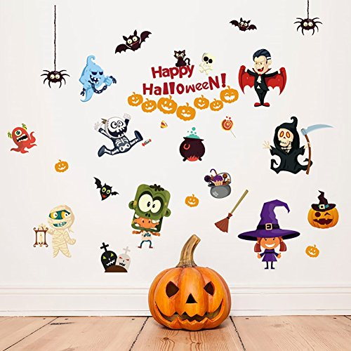 Wingbind Removeable DIY Art Mural Vinyl Waterproof Wall StickersWallpaper Halloween Ghost Witch Pumpkin For Kids Room Dinning Room Decor (Halloween Pumpkins Peel And Stick Wall Decals)