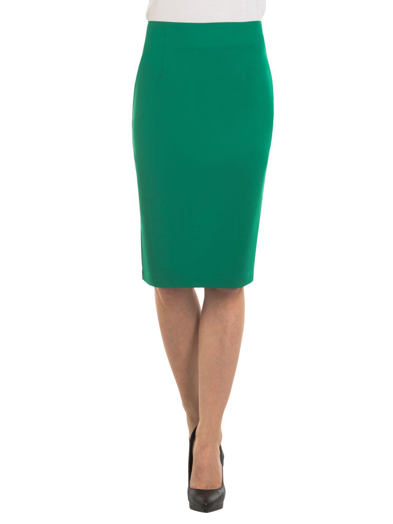 Velucci Womens High Waist Pencil Skirt - Knee High - Zipper - Back Slit, Green-L