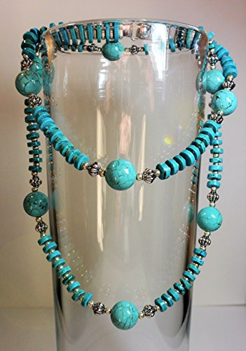 - Long Turquoise Heishi & Silver Melon Bead Necklace