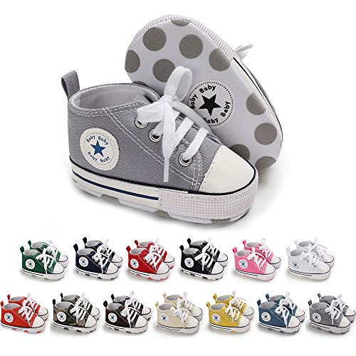 Meckior Save Beautiful Toddler Baby Girls Boys Shoes Infant First Walkers Sneakers (6-12 Months, A09-gray)