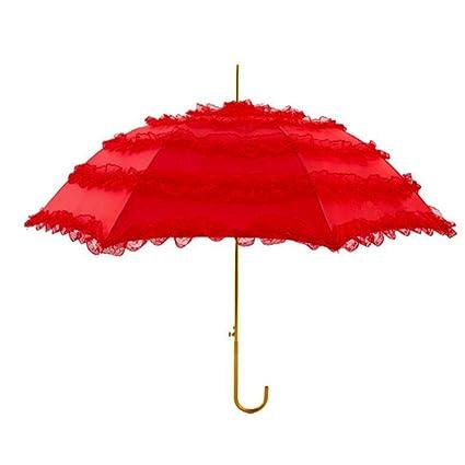 bpblgf Paraguas Boda Sombrilla Novia Sombrillas Boda Paraguas De Encaje Rojo Grande T, 01