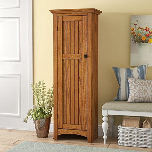 61'' Kitchen Pantry Made of Engineered Wood with Carolina Oak Finish The Storage Cabinet has a Paperboard Backing