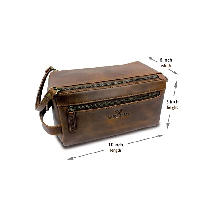 21156c211ec4 Velino Handmade Genuine Buffalo Leather Unisex Toiletry Bag Travel ...