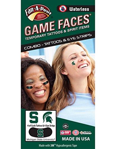 Michigan State University (MSU) Spartans - Waterless Peel & Stick Temporary Tattoos - 12-Piece Combo - 4 Green S Logo & 4 Spirit Tattoos & 4 Green S Logo on Black Eye Strips