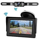 Digital Wireless Backup Camera System For Car RV Truck Trailers MPV with 4.3'' Monitor Van IP68 Waterproof Continuous/Reverse Use Rear/Side/Facing View Guide Lines ON/OFF