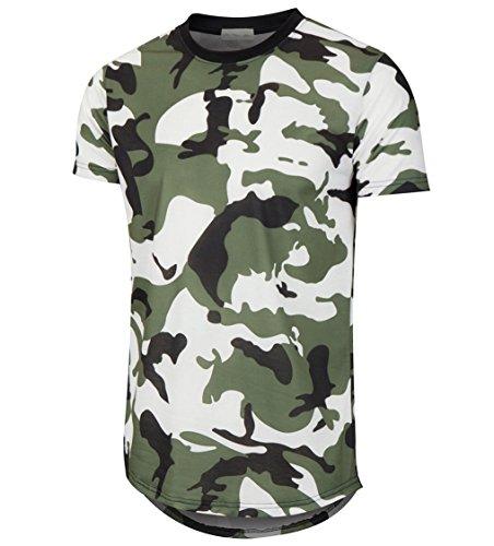 Urban Camouflage T-shirt - KLIEGOU Mens Hipster Hip Hop Ripped Round Hemline Camouflage T Shirt (05MC) Green XXL