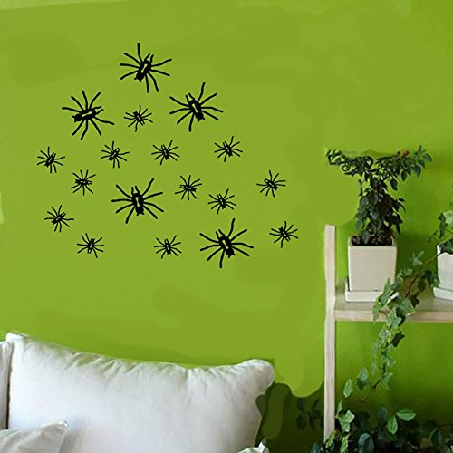 Smartcoco DIY Creative Spider Wall Sticker Vivid Wall Decals Kid Room Living Room Bedroom Halloween Decors 60x65cm