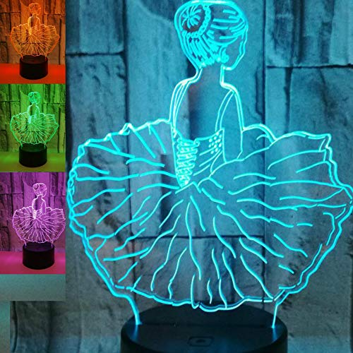 3D Ballet Ballerina Angel Night Light Table Lamp Decor Table Desk Optical Illusion Lamps 7 Color Changing Lights LED Table Lamp Xmas Home Love Brithday Children Kids Decor Toy Gift
