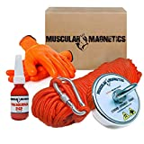 925lb Fishing Magnet Bundle Pack - Includes 6mm 100ft High Strength Nylon Rope with Carabiner, Non-Slip Rubber Gloves & Super Strong 925lb (420kg) Pulling Force Rare-Earth Magnet with Eyebolt